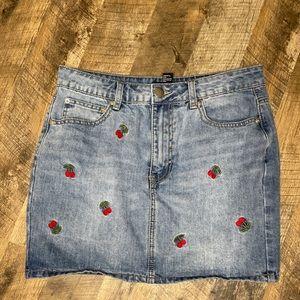 Forever 21 Denim Cherry Mini Skirt